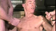 Three well built and well hung guys get together for some anal fun