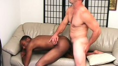 Black stud slides a white cock in his ass and fucks it with desire
