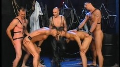 A big group of hunks make each other cum in a nasty fuckfest