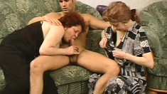 Two mature women are so desperate to ride this stud's fat boner