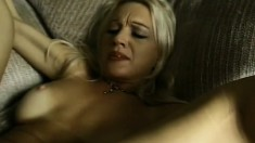 Tanned blonde whore with a massive ass takes it from a black dick