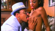 Buxom caramel girl has her black lover fucking her peach and her ass