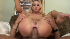 Nasty blonde Kelly takes a prick in each hole and experiences intense pleasure