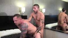 Big dude in a jockstrap gets his ass plowed down to the balls