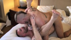 Hairy-assed stud gets his world rocked by a handsome punk's dick