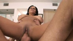 Bodacious Alexis Silver has a guy hammering her pussy all over the bed