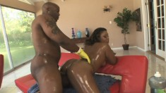 Sexy ebony lady with a big booty Vanity goes wild for a huge black rod