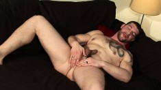 Hot guy Jeff Stronger fucks his ass with a dildo and strokes his dick