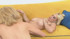 Starla Sterling is joined by two sexy blondes for a lesbian threesome