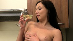 Slutty brunette enjoys her lover's throbbing cock and his warm juices