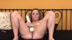 Cute little Monica poses for you and goes right for her clit with the vibrator