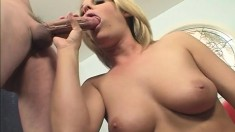 Bodacious blonde loves to ride a hard pole and to take it doggy style