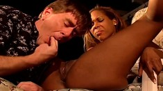 Slender black beauty gets her peach fingered and fucked by a white guy