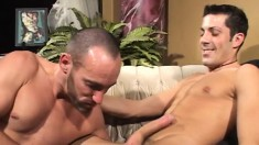 Leather stud welcomes a big dildo and a hard dick up his hungry ass