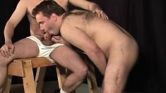 Tied up gay stud has two hung dudes fucking his tight ass from behind