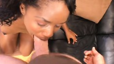 Pretty chocolate girl works her mouth and her snatch on a white dick