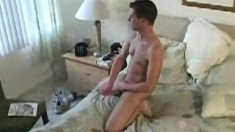 Handsome young Evan wants to touch his bulging rod of pleasure