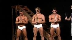 Five Lustful Guys With Wonderful Bodies Enjoying Intense Anal Drilling
