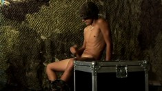 Lustful Recruit Exposes His Marvelous Body And Jerks His Large Prick