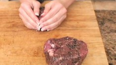 Beautiful blonde Bree gets busy in the kitchen to cook up a steak dinner