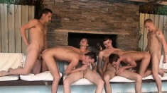 Six Magnificent Boys Indulge In Intense Anal Action And Cum Together