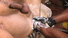 Muscled White Hunk Sucks A Thick Black Cock And Gets His Ass Fisted