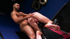 Two Hot Hunks Gobble Each Other's Dicks And Have Interracial Anal Sex