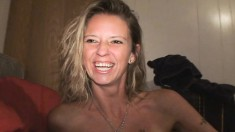 Striking blonde milf with lovely boobs blows and fucks a cock in POV