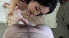 Amateur handjob POV clip that ends with a messy cumshot