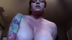 Redhead Momma With Huge Boobs And Glasses Gives Blowjob
