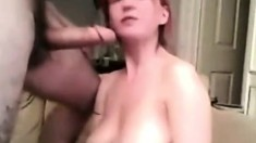 Redhead with big soft boobies gets facefucked