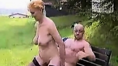 Granny fucked in the Garden