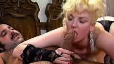 Cute Blonde Chick In White Stockings Blows Two Big Cocks
