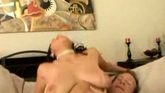 Massive Boobs Redhead Milf In Stockings Slammed On The Bed