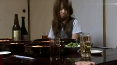 Japanese teen in school uniform shoved in her hairy quim